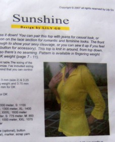 Sunshine Top Pattern by Lily Go